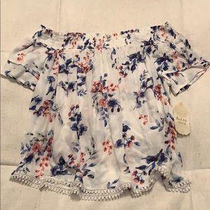 Altar'd state blue floral off the shoulder blouse